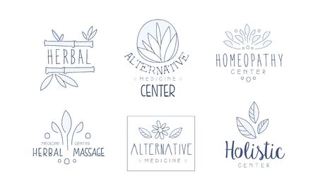 Alternative Medicine Center Hand Drawn Labels Set, Homeopathy, Holistic Medicine Center, Herbal Massage Vector Illustration