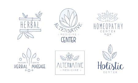 Alternative Medicine Center Hand Drawn Labels Set, Homeopathy, Holistic Medicine Center, Herbal Massage Vector Illustration