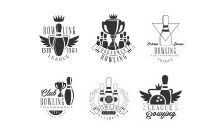 Bowling Tournament League Retro Labels Set, Bowling Club Monochrome Badges Vector Illustration