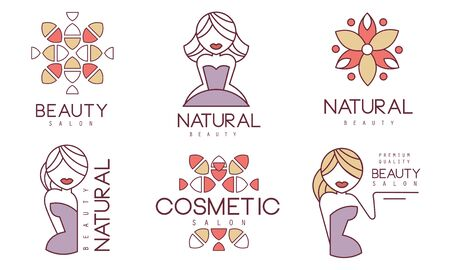 Cosmetic Salon Labels Set, Natural Beauty Badges Vector Illustration