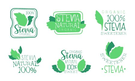 Organic Stevia   Templates Set, Natural Sweetener Badges Vector Illustration Vector Illustration