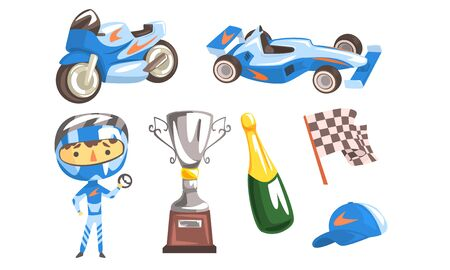 Professional Race Driver with Equipment Set, Winner Cup, Racing Flag, Trophy Cup, Sport Car and Motorcycle, Bottle of Champagne Vector Illustration Çizim