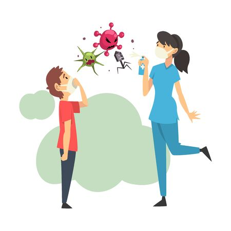 Female doctor and boy in medical masks kill viruses with balloon cartoon vector illustration Illustration