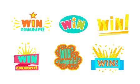 Win, Congrats Labels, Bright Congratulations Stickers Vector Illustration Vector Illustration on White Background. Иллюстрация