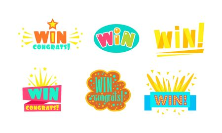 Win, Congrats Labels, Bright Congratulations Stickers Vector Illustration Vector Illustration on White Background. Фото со стока - 131854485