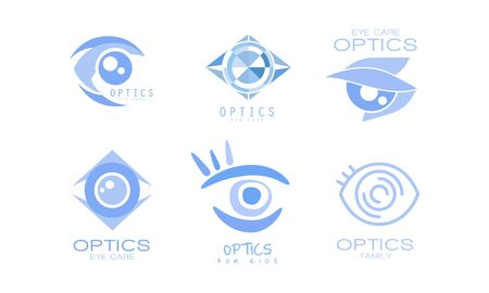 Eye Care Optics  Collection, Kids Clinic or Ophthalmology Cabinet Badges Vector Illustration on White Background. Çizim