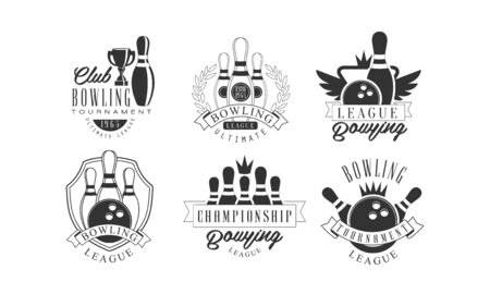 Bowling Tournament Retro Labels Set, Championship League Monochrome Badges Vector Illustration on White Background. Illusztráció