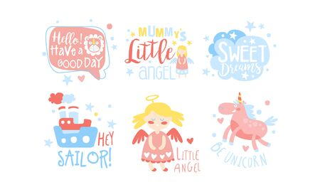 Baby Nursery Room Decoration Elements Set, Childish Prints Collection Vector Illustration on White Background.