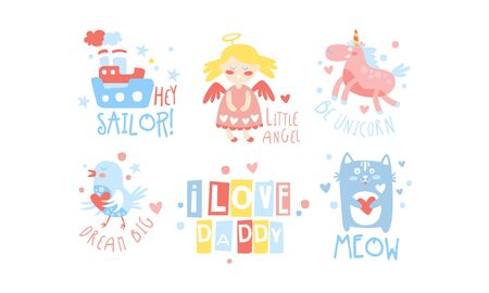 I Love Daddy Childish Prints Collection, Baby Nursery Room Decoration Elements Vector Illustration on White Background.