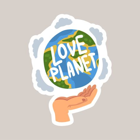 Love planet tagline sticker cartoon vector illustration
