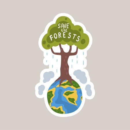 Save the forests tagline sticker cartoon vector illustration Vettoriali