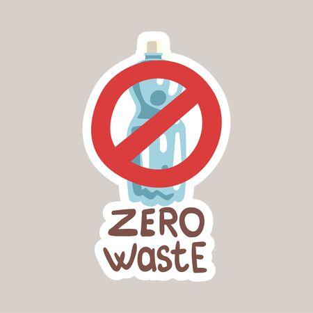 Zero waste tagline sticker cartoon vector illustration