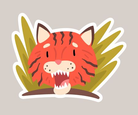 Red tiger in plants cartoon vector illustration