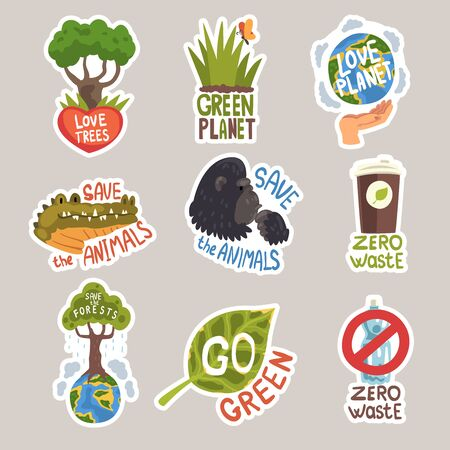 Different taglines sticker. Love trees on the heart , green planet, love planet on the arm, save the animals on crocodile and gorilla, zero waste with cup and plastic bottle, save the forests, go green in leaf cartoon vector illustration