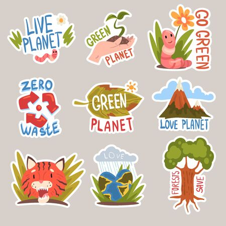 Different taglines sticker. Live planet and go green with worm and flower, green planet with plant in the hand and on the leaf, zero waste logo, love planet with mountains, red tiger, planet-heart, forests save with tree cartoon vector illustration