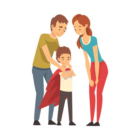 Mom and dad in colorful clothes are looking at their child in a superhero cloak cartoon vector illustration