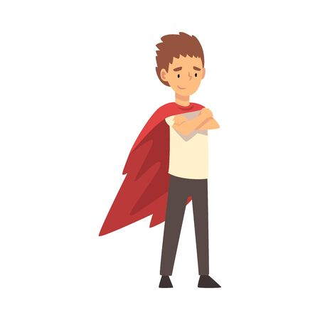 Boy in a superhero cloak stands with his arms crossed cartoon vector illustration