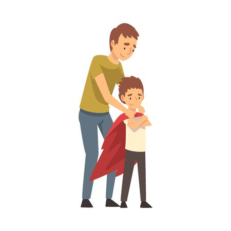 Dad straightens his child s red cloak, boy crossed arms over his chest cartoon vector illustration