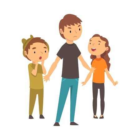 Three children express different emotions. Little boy expresses surprise, girl expresses admiration, guy expresses indignation cartoon vector illustration Ilustrace
