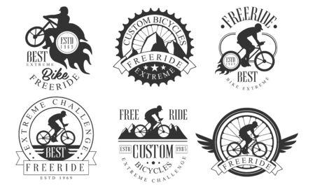 Extreme Freeride Retro Templates Set, Bicycles Extreme Challenge Monochrome Badges Vector Illustration