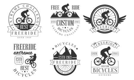 Extreme Freeride Retro   Templates Set, Bicycles Extreme Challenge Badges Vector Illustration