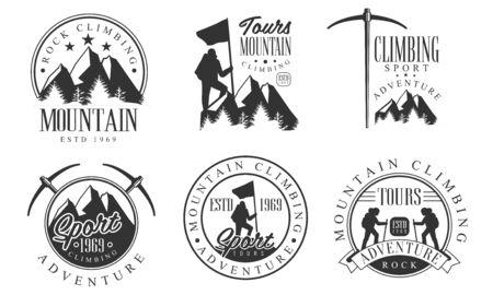 Mountain Rock Climbing Retro   Set, Rock Sport Adventure Monochrome Badges Vector Illustration