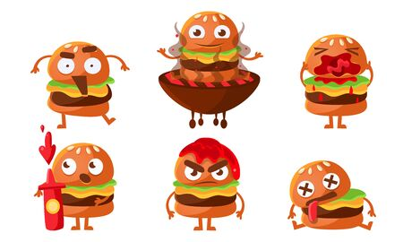 Funny Burgers Set, Fast Food Cartoon Character with Various Emotions Vector Illustration on White Background. Illusztráció