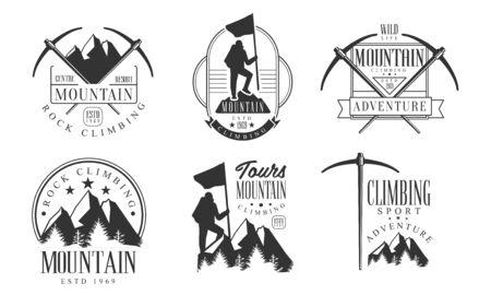 Mountain Rock Climbing Retro   Set, Climbing Sport Adventures Monochrome Badges Vector Illustration