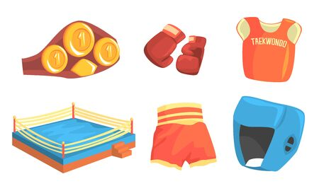 Taekwondo Sports Equipment Set, Head, Chest, Groin, Elbow Guard Protectors, Kimono and Sparring Grappling Gloves Vector Illustration on White Background. Stock Illustratie