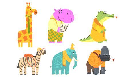 Funny African Animals Cartoon Characters Set, Giraffe, Hippopotamus, Crocodile, Gorilla, Elephant, Zebra Vector Illustration on White Background.