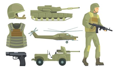 Military Vehicles, Weapon and Soldier in Army Uniform Set Vector Illustration on White Background.