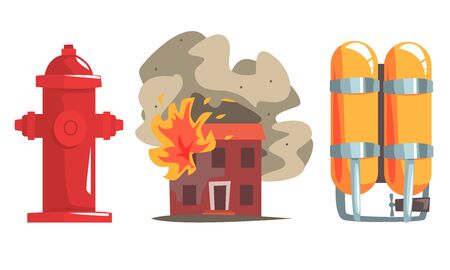 Burning House and Firefighter Equipment Set, Red Fire Hydrant and Gas Cylinders Vector Illustration on White Background. 일러스트
