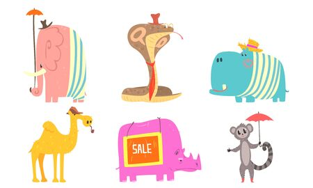 Funny African Animals Cartoon Characters Set, Rhinoceros, Camel, Cobra Snake, Hippopotamus, Elephant, Lemur Vector Illustration on White Background.