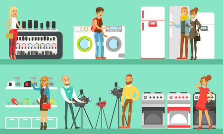People Shopping for Household Appliances Set, Electronics Mall Interior with Customers Vector Illustration in Flat Style.