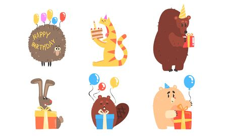 Collection of Cute Animals for Happy Birthday Design, bear, Cat, Sheep, Rabbit, Beaver with Gift Boxees Vector Illustration on White Background.