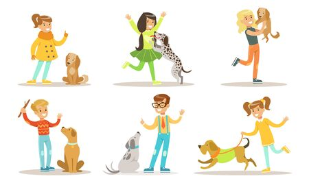 Happy Boys and Girls Playing and Having Fun with Their Pet Dogs Set Vector Illustration on White Background.