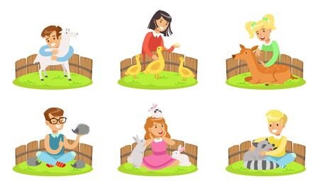 Happy Children and Cute Animals In Petting Zoo Set, Boys and Girls Playing, Feeding and Hugging with Goat, Gosling, Fawn, Rabbit, Raccoon, Hedgehog Vector Illustration on White Background. Illustration