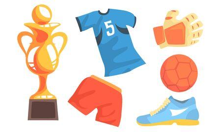 Soccer Icons Set, Uniform, Ball, Trophy Cup, Glove, Boot Vector Illustration on White Background. Illusztráció