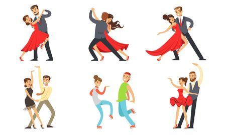Dancing Couples Set, Professional Dancers Performing Classical and Modern Dances Vector Illustration on White Background. Çizim