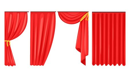 Red Curtains Set, Luxury Interior Drapery, Cornice Decor Vector Illustration on White Background.
