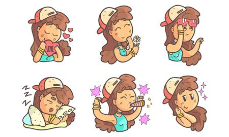 Teenage Girl in Baseball Cap Showing Various Emotions Set Vector Illustration on White Background.
