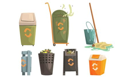 Garbage Bins with Decaying Waste Set, Ecology and Recycling Concept Vector Illustration on White Background. Illustration