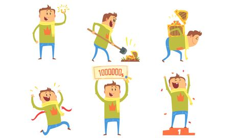 Collection of Lucky Man Winning in Lottery, Quiz Show and Found Treasure Chest Vector Illustration on White Background.