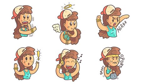 Cute Girl in Baseball Cap Showing Various Emotions Set Vector Illustration on White Background.