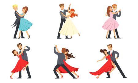Tanzpaare Set, professionelle Tänzer, die Tango, Walzer und andere Tänze durchführen Vektor-Illustration auf weißem Hintergrund. Vektorgrafik