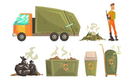 Street Cleaner Gathering Garbage and Waste, Carbage Truck, Recycling Service Vector Illustration on White Background.