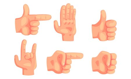 Various Hand Gestures Set, Human Hand Showing Different Signs and Emotions Vector Illustration