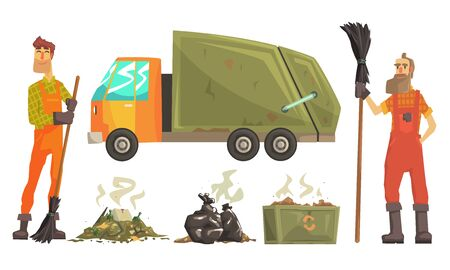 Sanitation Workers Gathering Garbage and Waste for Recycling, Carbage Truck Vector Illustration on White Background. Illustration
