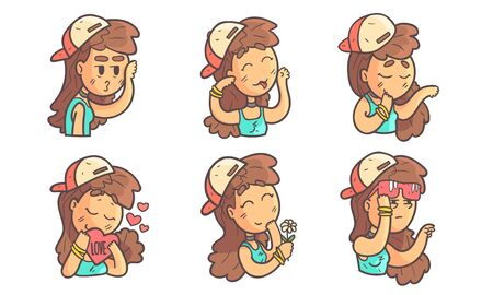 Cute Teenage Girl with Different Facial Expressions Set Vector Illustration on White Background.