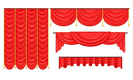 Red Curtains Set, Luxury Interior Drapery, Cornice Decor, Textile Lambrequin Vector Illustration on White Background. 向量圖像